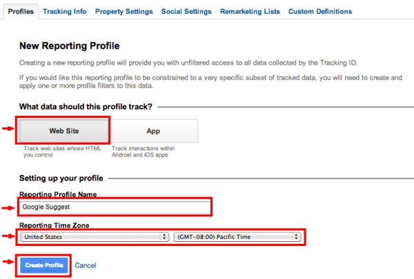 New profile step 2 google analytics