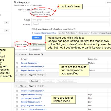 give keyword ideas; make sure exact match checked; make sure on keyword ideas tab