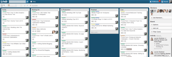 use trello for content plans and other sub projects
