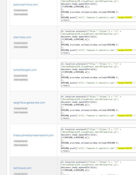 These are just some of the sites that use the same New Relic code as Mashable.com