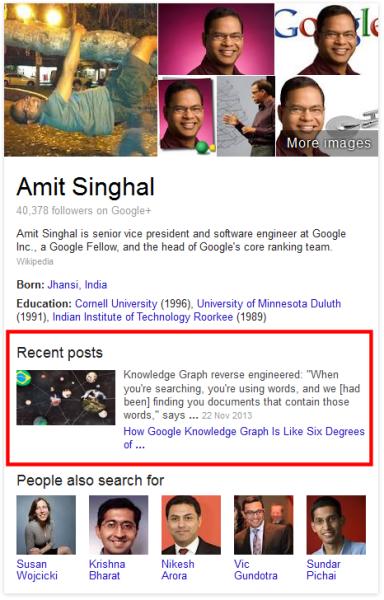 Amit Singhal Knowledge Panel
