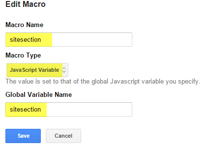 Create a Macro to grab your javascript variable