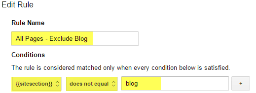 Exclude blog pages from your normal Analytics Tag