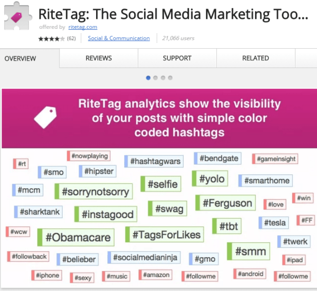 RiteTag Chrome Extension