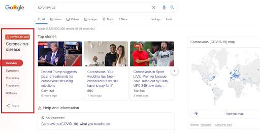 Google SERPs sticky menu