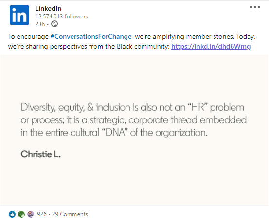 LinkedIn content has a cause