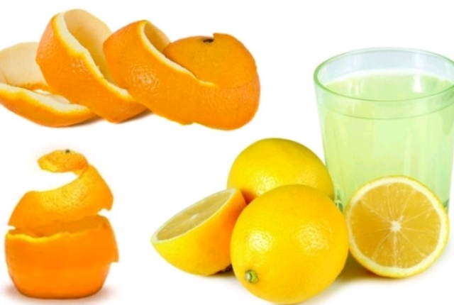 Oranges peel lemon juice
