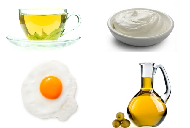 Green Tea with Sour Cream, Egg Yolk and Olive Oil