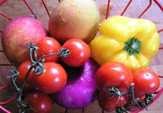 Clean and disinfected vegetables