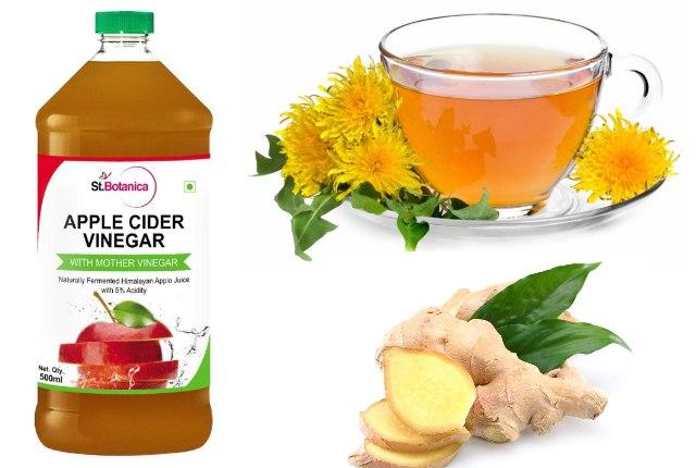 Apple Cider Vinegar, Dandelion Tea And Ginger