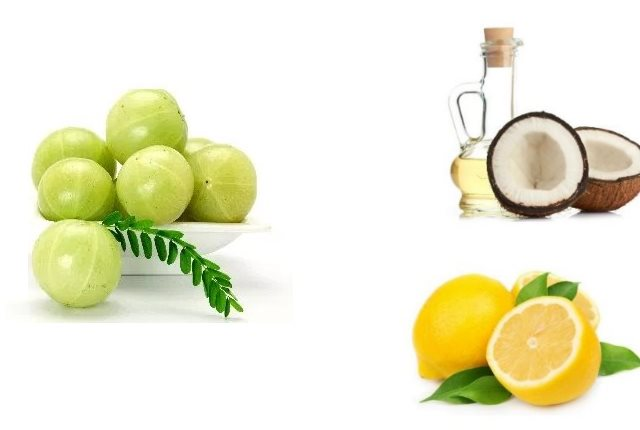 Indian Gooseberry Or Amla, Lemon And Coconut Oil