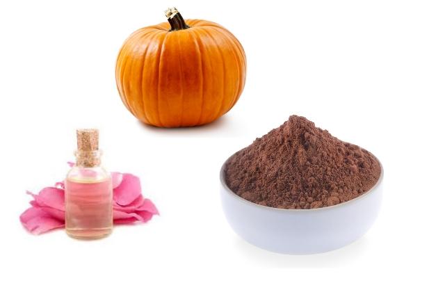 Rose Water, Chocolate Powder And Pumpkin Scrub