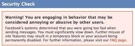 Facebook Spam Warning