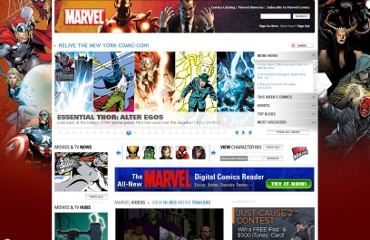 Marvel's Homepage Services Their Product Lines