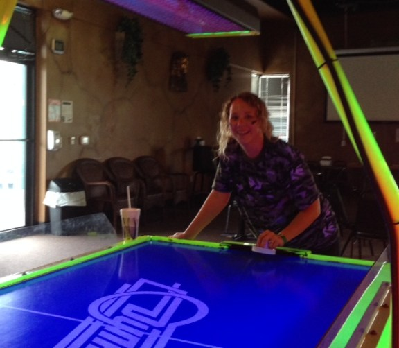 Rebekah was probably the most prepared for laser tag, wearing not only war paint, but also camouflage. I'm not sure if it helped her at air hockey at all though...