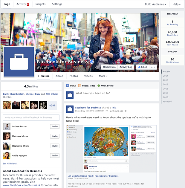 Facebook's new design layout for Pages - March 2014