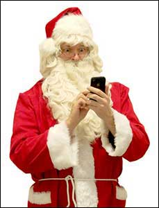 Photo Of Santa On A Smartphone