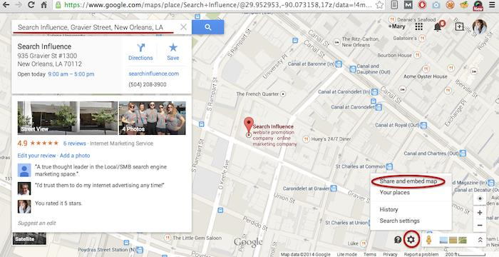 Google Maps Share and Embed Map - Search Influence