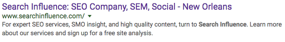 Image Of SI SERP - Search Influence