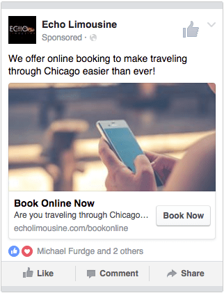 Example Ad Using The 'Book Now' Call To Action Button - Search Influence