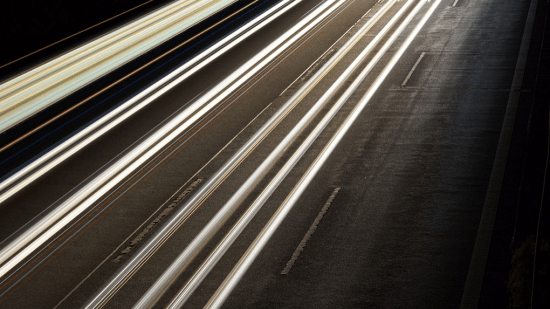 Open exposure capture of cars driving on a road at night - Search Influence