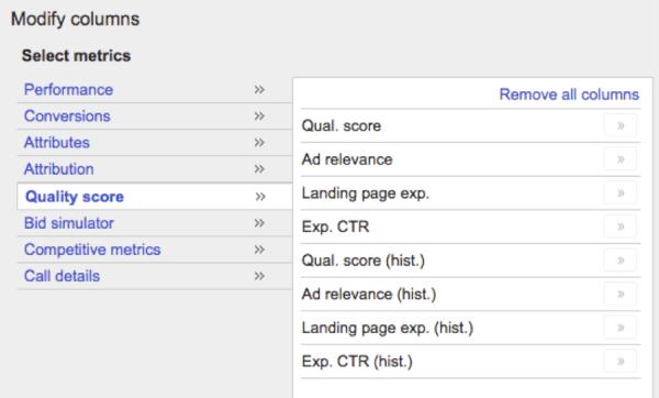 Screenshot of Quality Score columns - Search Influence