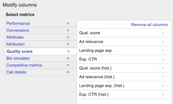 Screenshot of Quality Score columns - Search Influence