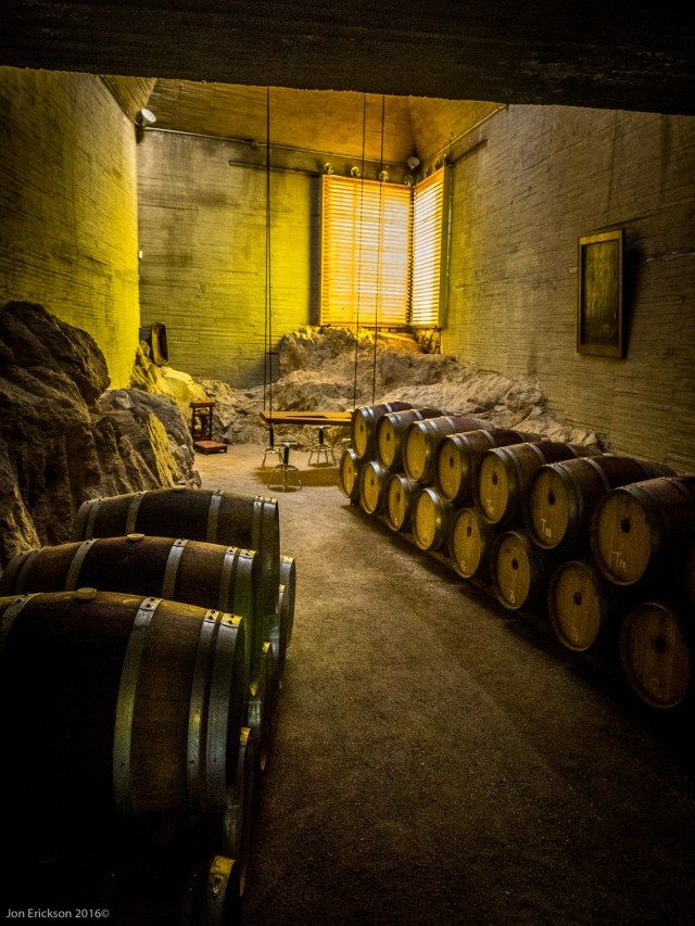 The room where they store the wine in barrels usually for 12 months.