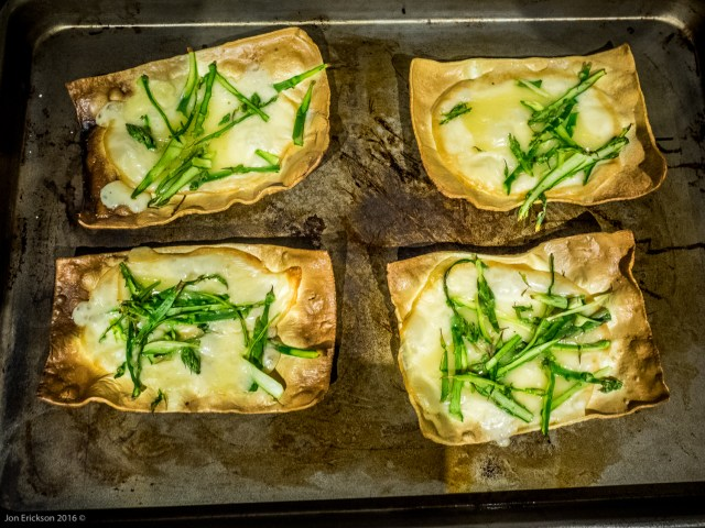 Open Faced Lasagne with melted cheese and asparagus