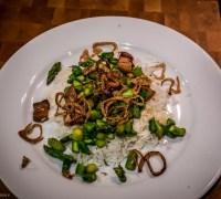 Crispy Asparagus, Bacon and Shallots on Rice