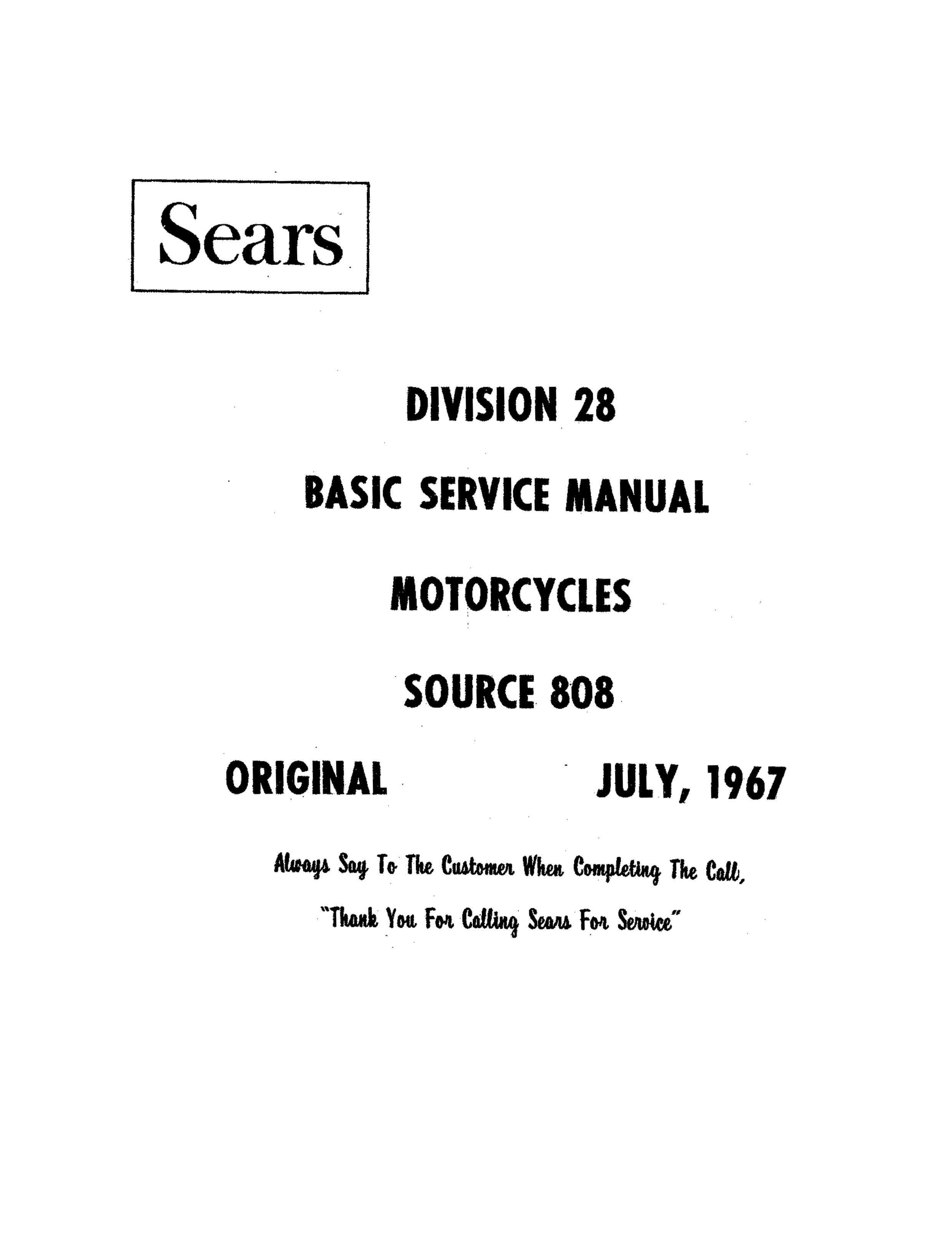 Sears 106SS Division 28 July 1967 Basic Service Manual