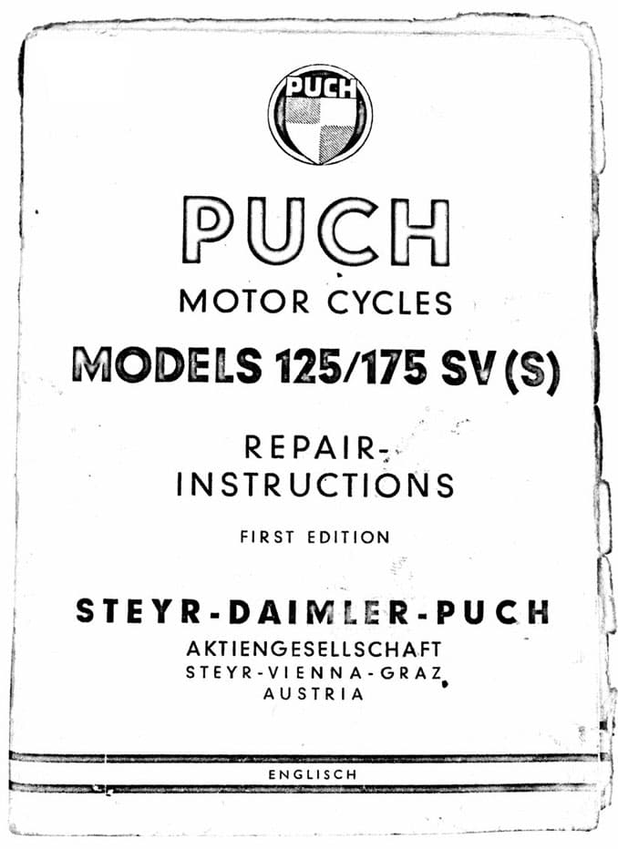 Puch 125 175 SV SVS Motorcycle Repair Instructions First