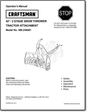 Craftsman Tractor & Attachment Manuals