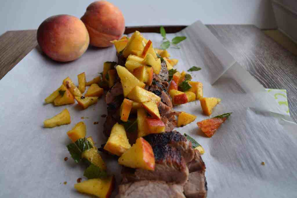 Easy Pork With Peaches on oven foil after baking
