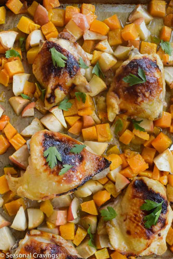 Roasted Chicken With Honey on a sheet pan