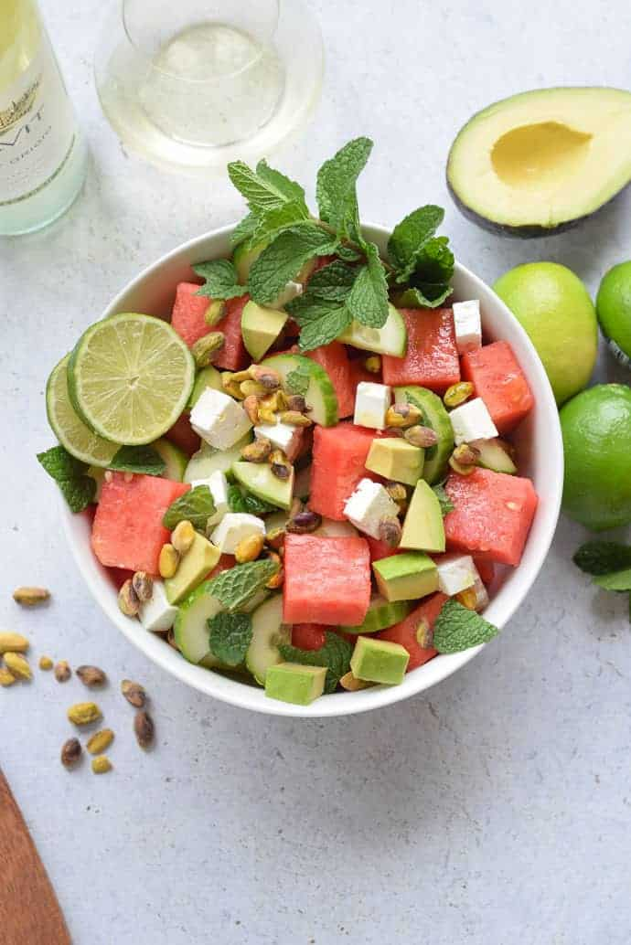 Watermelon and Cucumber Salad with mint and avocado