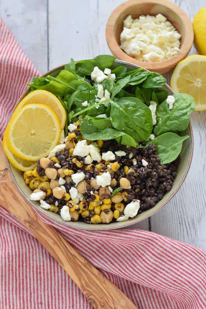 Black Lentil Salad with feta