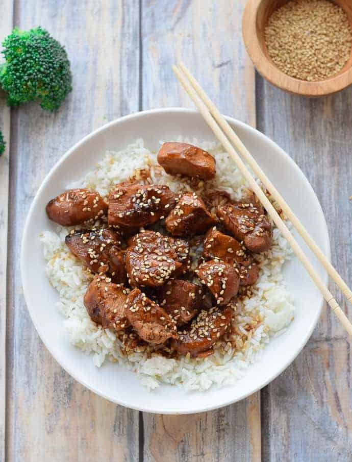 Instant Pot Sesame Chicken is packed with flavor and easy to make in the Instant Pot. seasonalcravings.com #glutenfree #instantpot
