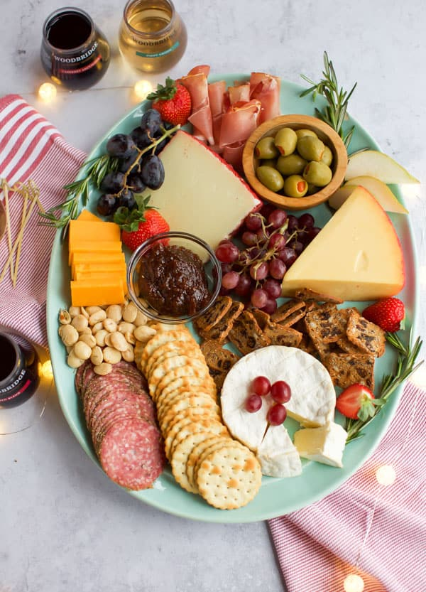 cheese platter on a blue plate