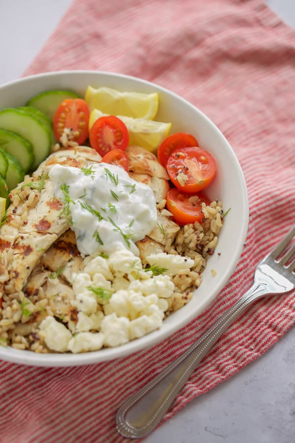 chicken gyro rice bowl with tomatoes