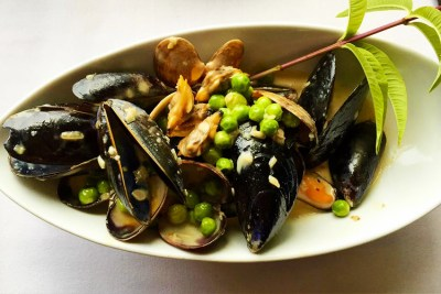 Lemon Verbena from the garden is transformed into a cream sauce  and paired with mussels and fresh peas - served as an appetizer - YUM!