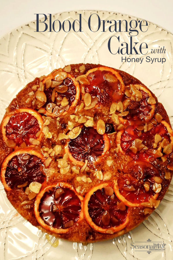 Delicious blood orange cake. A light version made with greek yogurt, blood oranges, almonds and honey syrup. Gluten Free Option too | seasonalmuse.com