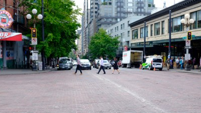 Downtown Seattle - Reminded me of the famous Abbey Road photo with the Beattles.