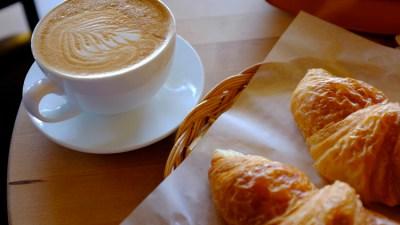 Fresh baked pastry & handmade latte art at LaPanier - breakfast Seattle style.