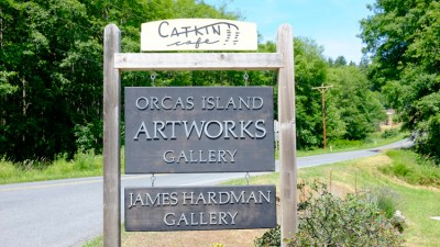 Stop at the Orcas Island Gallery & Artwork - have lunch at the Catkin Cafe.