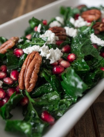 Kale Pomegranate Pecan | A beautiful kale salad with pomegranates and pecans and a simple, easy apple cider vinaigrette. The perfect side salad to your holiday meal. | seasonedvegetable.com