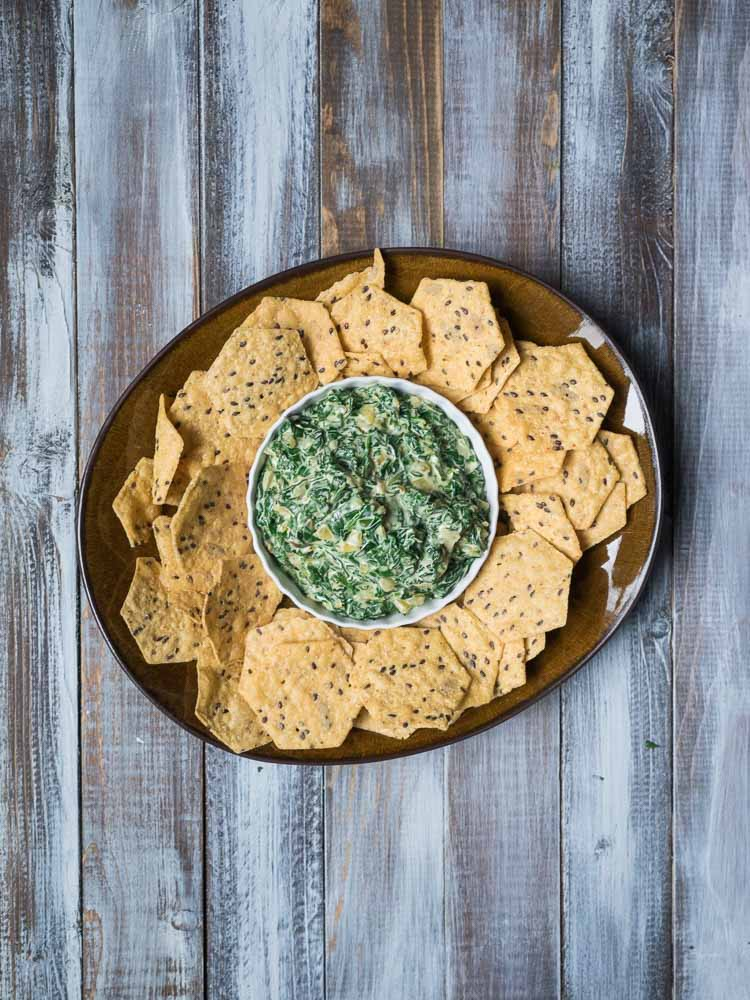 Easy Warm Spinach Dip with Chard | An easy spinach dip with swiss chard and cream cheese. Ready in 30 minutes and perfect for a party!