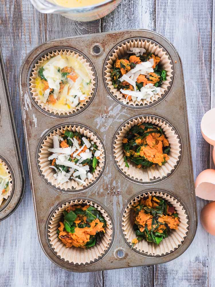 Chard and Sweet Potato Frittata Muffin | This 10 ingredient, easy, breakfast is perfect for busy mornings! Make a batch on the weekend for an on the go chard and sweet potato frittata muffin during the week! | seasonedvegetable.com