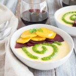 Goat Cheese Polenta | This warm, creamy, goat cheese polenta with roasted beets and bright arugula pesto is a delicious dish for a dinner party or date night at home. | SeasonedVegetable.com #vegetarian #easyrecipe #dinner #easyvegetarian #polenta #beets