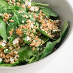Herb and Spinach Farro Salad | An easy, fresh, spring spinach farro salad full of herbs and tart feta cheese. Perfect for a light picnic lunch or dinner. | SeasonedVegetable.com